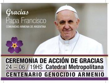 Аргентинские армяне организовали церковную церемонию в честь Папы  Римского Франциска
